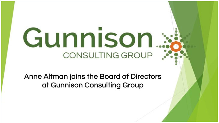Anne Altman joins the Board of Directors at Gunnison Consulting Group